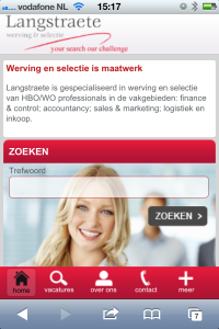 Dit is de homepage van de mobiele website